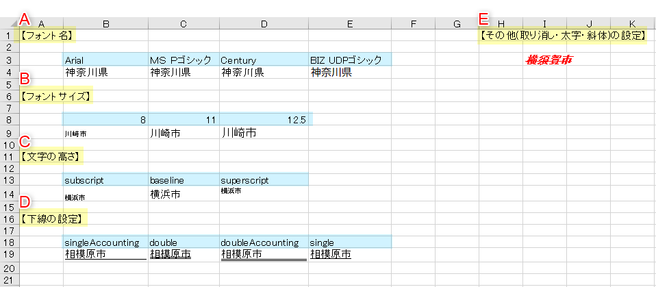 Fontオブジェクト適用例